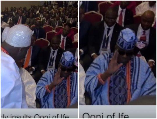 Nigerians blast Oba of Lagos for snubbing Ooni of Ife in public [VIDEO]
