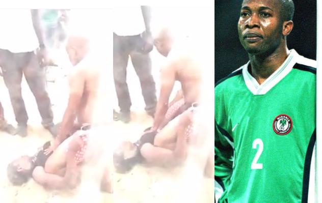 Ex -Nigeria Super Eagles Footballer,Godwin Okpara Beating His Wife Publicly – Vira Video